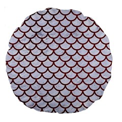 Scales1 White Marble & Red Grunge (r) Large 18  Premium Round Cushions by trendistuff