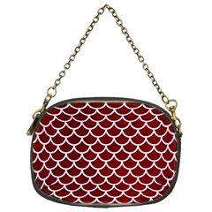 Scales1 White Marble & Red Grunge Chain Purses (one Side)  by trendistuff