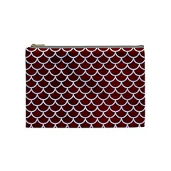 Scales1 White Marble & Red Grunge Cosmetic Bag (medium)  by trendistuff