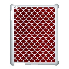 Scales1 White Marble & Red Grunge Apple Ipad 3/4 Case (white) by trendistuff