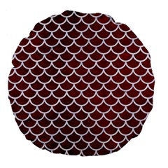 Scales1 White Marble & Red Grunge Large 18  Premium Flano Round Cushions by trendistuff