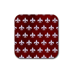 Royal1 White Marble & Red Grunge (r) Rubber Coaster (square)  by trendistuff