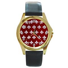 Royal1 White Marble & Red Grunge (r) Round Gold Metal Watch by trendistuff
