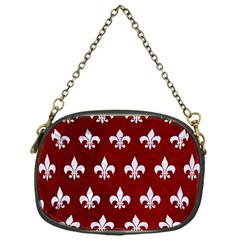 Royal1 White Marble & Red Grunge (r) Chain Purses (one Side)  by trendistuff