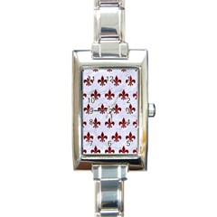 Royal1 White Marble & Red Grunge Rectangle Italian Charm Watch by trendistuff