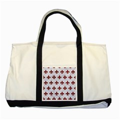 Royal1 White Marble & Red Grunge Two Tone Tote Bag by trendistuff