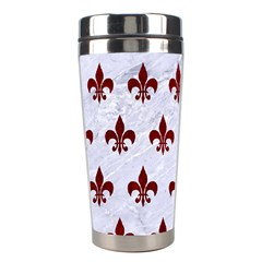 Royal1 White Marble & Red Grunge Stainless Steel Travel Tumblers by trendistuff