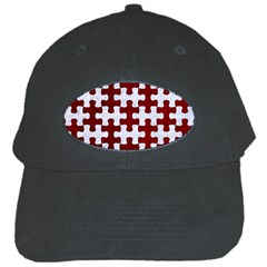Puzzle1 White Marble & Red Grunge Black Cap by trendistuff