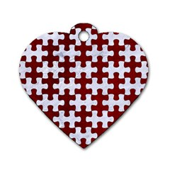 Puzzle1 White Marble & Red Grunge Dog Tag Heart (one Side) by trendistuff