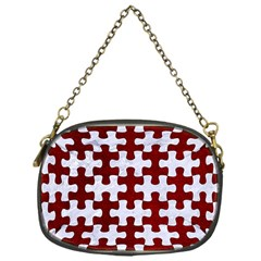 Puzzle1 White Marble & Red Grunge Chain Purses (one Side)  by trendistuff