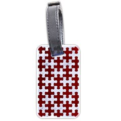 Puzzle1 White Marble & Red Grunge Luggage Tags (one Side)  by trendistuff
