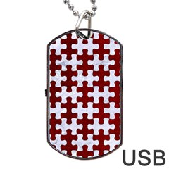Puzzle1 White Marble & Red Grunge Dog Tag Usb Flash (one Side) by trendistuff