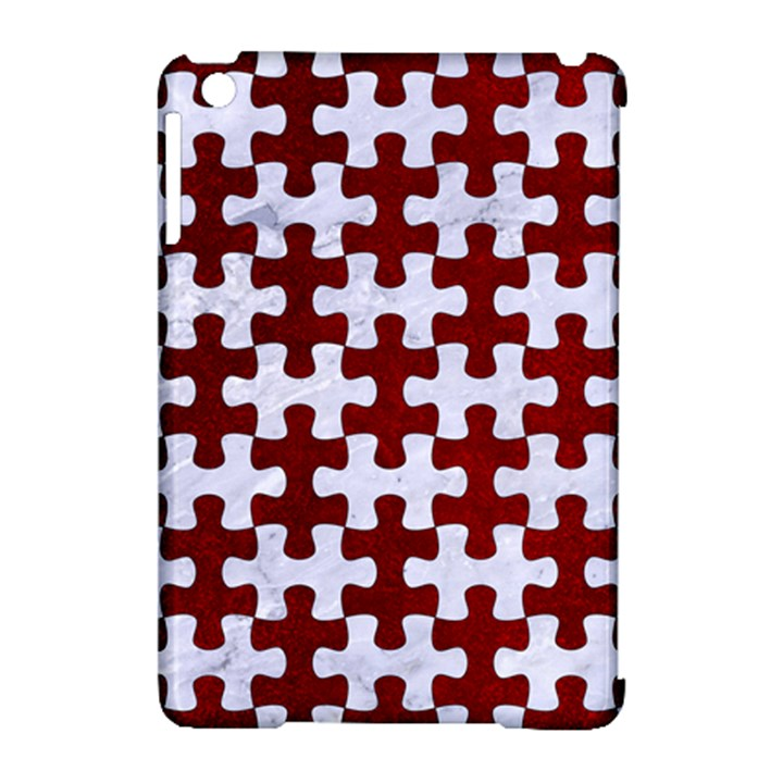 PUZZLE1 WHITE MARBLE & RED GRUNGE Apple iPad Mini Hardshell Case (Compatible with Smart Cover)