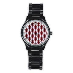 Puzzle1 White Marble & Red Grunge Stainless Steel Round Watch by trendistuff
