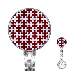 Puzzle1 White Marble & Red Grunge Stainless Steel Nurses Watch by trendistuff