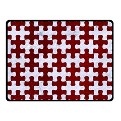 Puzzle1 White Marble & Red Grunge Double Sided Fleece Blanket (small)  by trendistuff