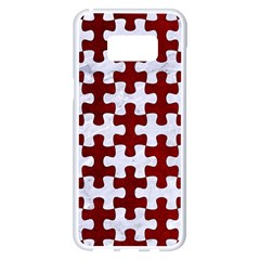 Puzzle1 White Marble & Red Grunge Samsung Galaxy S8 Plus White Seamless Case by trendistuff