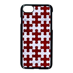 Puzzle1 White Marble & Red Grunge Apple Iphone 8 Seamless Case (black) by trendistuff