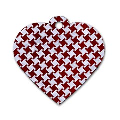 Houndstooth2 White Marble & Red Grunge Dog Tag Heart (one Side) by trendistuff