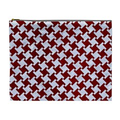 Houndstooth2 White Marble & Red Grunge Cosmetic Bag (xl) by trendistuff