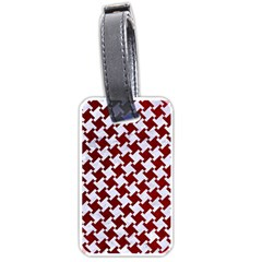 Houndstooth2 White Marble & Red Grunge Luggage Tags (two Sides) by trendistuff