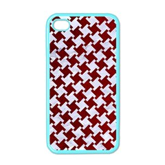 Houndstooth2 White Marble & Red Grunge Apple Iphone 4 Case (color) by trendistuff