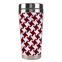 Houndstooth2 White Marble & Red Grunge Stainless Steel Travel Tumblers by trendistuff