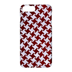 Houndstooth2 White Marble & Red Grunge Apple Iphone 8 Plus Hardshell Case by trendistuff