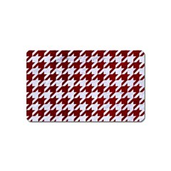 Houndstooth1 White Marble & Red Grunge Magnet (name Card) by trendistuff