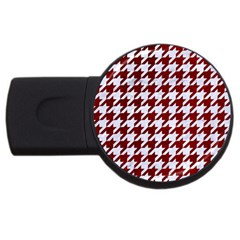 Houndstooth1 White Marble & Red Grunge Usb Flash Drive Round (2 Gb) by trendistuff