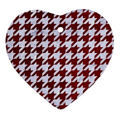 Houndstooth1 White Marble & Red Grunge Heart Ornament (two Sides) by trendistuff