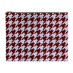Houndstooth1 White Marble & Red Grunge Cosmetic Bag (xl) by trendistuff