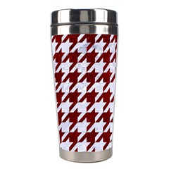 Houndstooth1 White Marble & Red Grunge Stainless Steel Travel Tumblers by trendistuff