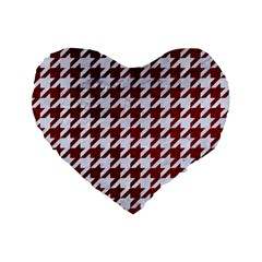 Houndstooth1 White Marble & Red Grunge Standard 16  Premium Flano Heart Shape Cushions by trendistuff