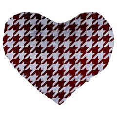 Houndstooth1 White Marble & Red Grunge Large 19  Premium Flano Heart Shape Cushions by trendistuff