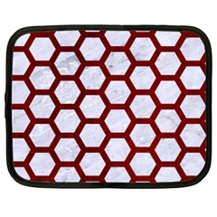 Hexagon2 White Marble & Red Grunge (r) Netbook Case (xxl)  by trendistuff