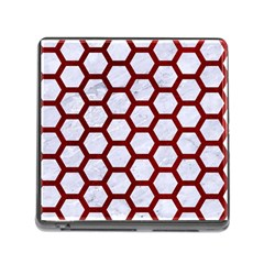 Hexagon2 White Marble & Red Grunge (r) Memory Card Reader (square) by trendistuff