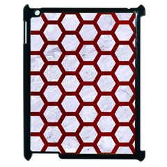 Hexagon2 White Marble & Red Grunge (r) Apple Ipad 2 Case (black) by trendistuff