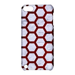 Hexagon2 White Marble & Red Grunge (r) Apple Ipod Touch 5 Hardshell Case With Stand by trendistuff