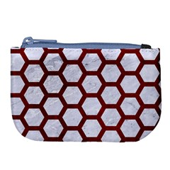 Hexagon2 White Marble & Red Grunge (r) Large Coin Purse by trendistuff