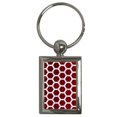 Hexagon2 White Marble & Red Grunge Key Chains (rectangle)  by trendistuff