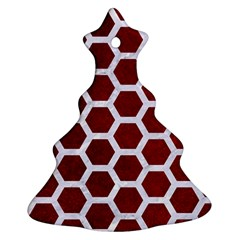 Hexagon2 White Marble & Red Grunge Ornament (christmas Tree)