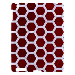 Hexagon2 White Marble & Red Grunge Apple Ipad 3/4 Hardshell Case by trendistuff