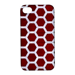 Hexagon2 White Marble & Red Grunge Apple Iphone 4/4s Hardshell Case With Stand by trendistuff