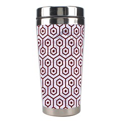 Hexagon1 White Marble & Red Grunge (r) Stainless Steel Travel Tumblers by trendistuff