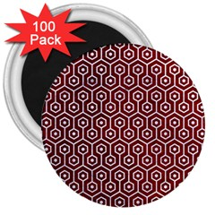 Hexagon1 White Marble & Red Grunge 3  Magnets (100 Pack) by trendistuff