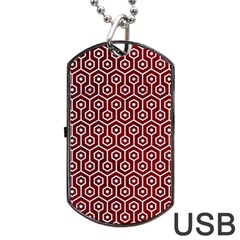 Hexagon1 White Marble & Red Grunge Dog Tag Usb Flash (two Sides) by trendistuff