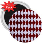 DIAMOND1 WHITE MARBLE & RED GRUNGE 3  Magnets (10 pack)  Front