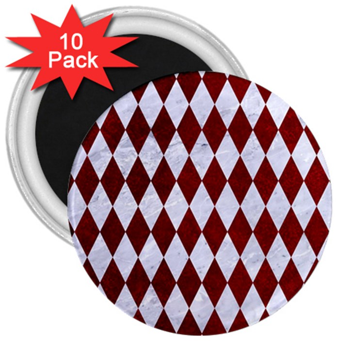 DIAMOND1 WHITE MARBLE & RED GRUNGE 3  Magnets (10 pack)