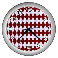 Diamond1 White Marble & Red Grunge Wall Clocks (silver)  by trendistuff